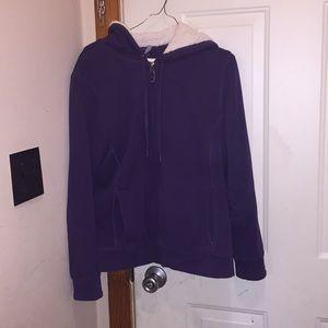 LL bean purple Sherpa lined women's hoodie jacket